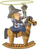 Cowboy on a Rocking Horse. This illustration that I created depicts a cowboy on a wooden rocking horse, swinging a lariat Royalty Free Stock Images