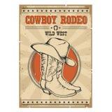 Cowboy Rodeo Poster Westelijke uitstekende illustratie met tekst royalty-vrije illustratie