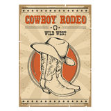 Cowboy rodeo poster.Western vintage illustration with text Royalty Free Stock Photos