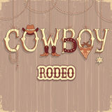 Cowboy rodeo text .Vector background Stock Photo