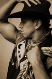 cowboy with rope sepia Royalty Free Stock Images