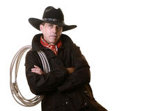 Cowboy with rope on shoulder Stock Photos