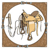 Cowboy saddle and bridle in the western leather frame on white background. Royalty Free Stock Photo