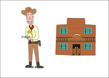 Cowboy and a saloon. My illustration of a cowboy and a saloon Stock Photos