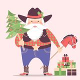 Cowboy Santa Claus in western hat and holiday gifts .Vector christmas illustration. With text vector illustration