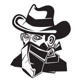 Cowboy with Scarf Over Mouth Cartoon. Stock Photo