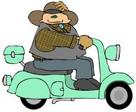 Cowboy On A Scooter. This illustration depicts a cowboy riding a scooter Stock Photography