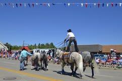 Cowboy se tenant sur des chevaux à un défilé Photographie stock