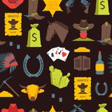 Cowboy Seamless Pattern Background de bande dessinée Vecteur Illustration Stock