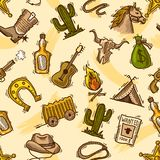 Cowboy seamless pattern color Royalty Free Stock Images