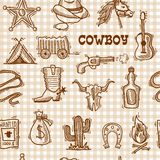 Cowboy seamless pattern. Wild west cowboy seamless pattern on squared background with hat horseshoe sheriff badge vector illustration Stock Photos