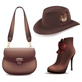 Cowboy set of accessories leather bag suede boots and felt hat with feathers. Illustration of white background Stock Images