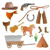 Cowboy set. Collection of isolated cowboy accessories royalty free illustration