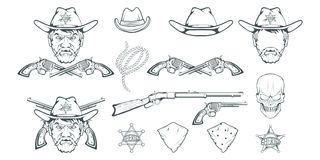 28ff5aa8561b3 Cowboy Set for design. Hand drawn cowboy hat. Cartoon character man in the  wild