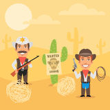 Cowboy Sheriff and His Assistant in Desert Stock Images