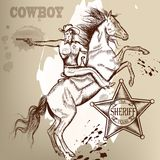 Cowboy or sheriff on a horse shoutting from gun. Cowboy vector set west American cowboy, Indian and other Stock Images