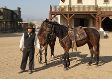 Cowboy Sheriff and horses. At Mini Hollywood, Tabernas, Almeria Province, Andalusia, Spain stock photography
