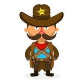 Cowboy sheriff pistol. Wild West cowboys hat drawing illustration beautiful Stock Images