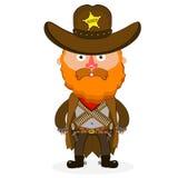 Cowboy sheriff pistol. Wild West cowboys hat drawing illustration beautiful Royalty Free Stock Images
