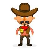 Cowboy sheriff pistol. Wild West cowboys hat drawing illustration beautiful Stock Image