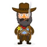 Cowboy sheriff pistol. Wild West cowboys hat drawing illustration beautiful Royalty Free Stock Photography