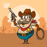 Cowboy sheriff shoots from pistol and smiling Stock Image