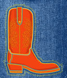 Cowboy shoe on blue jeans background.Vector boot s Stock Images