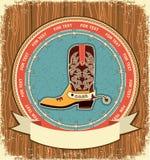 Cowboy shoe.Western label background Stock Photo