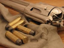 Cowboy Shooting. Single Action Pistol with Ammunition Royalty Free Stock Image