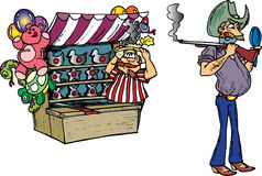 Cowboy Shooting Backwards. Cowboy shooting a rifle backwards at carnival Stock Illustration