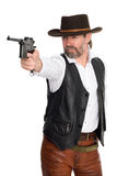 Cowboy shot from a pistol. Man in cowboy hat shot from a pistol Stock Photos