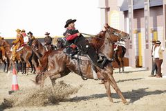 Cowboy show, Muharraq horse riding school Bahrain Royalty Free Stock Image