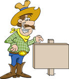 Cowboy with a sign Stock Photography