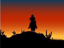 Free Cowboy Silhouette At Sunset Royalty Free Stock Photo - 7640985