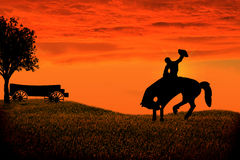 Cowboy Silhouette. Cowboy on a bucking horse in the sunset Vector Illustration