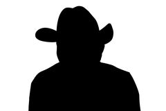 Cowboy silhouette with clipping path. Cowboy portrait silhouette over white Stock Photos