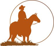 COWBOY SILHOUETTE Stock Image
