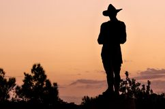 Cowboy silhouette at sunset Royalty Free Stock Photo