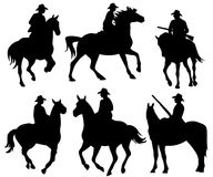 Cowboy silhouette vector set Royalty Free Stock Photo