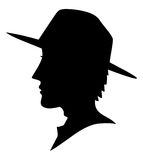 Cowboy silhoutte face Royalty Free Stock Photo