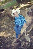 Cowboy Sitting op Boomboomstam Royalty-vrije Stock Afbeelding