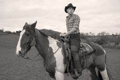 Cowboy on horseback, horse riding with chequered shirt, field, hill side and trees in background Stock Image
