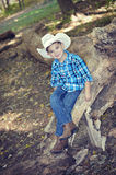 Cowboy Sitting on Tree Trunk royalty free stock image