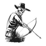 Cowboy skeleton with crossbow - black and white - gothic skull cartoon - ghost silhouette stock illustration