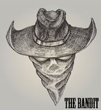 Cowboy sketch or bandit With Bandanna. Print vector or element design with hand drawn Royalty Free Stock Photos