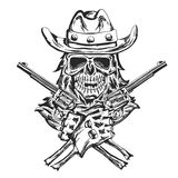 Cowboy skull ath the hat with two guns at the hands. Hand drawn black and white illustration Royalty Free Stock Images