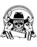 Cowboy and skull bull Royalty Free Stock Photo