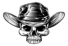 Cowboy Skull Hat Drawing Royalty Free Stock Photography
