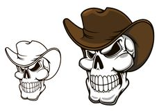 Cowboy skull in hat Royalty Free Stock Photos