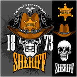 Cowboy Skull in the Hat and Sheriffs star Stock Photos